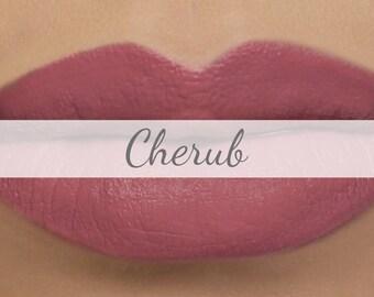 "Vegan Matte Lipstick Sample - ""Cherub"" (medium mauve pink natural lipstick with opaque coverage)"