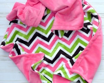 Chevron Baby Blanket - Baby Blanket - Pink and Green Chevron Baby Blanket with Hot Pink Minky - Pink and Black Baby Blanket - Girl Blanket