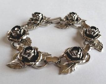 Vintage CORO ROSES & RHINESTONES Silver Costume Bracelet Vtg Fashion Jewelry