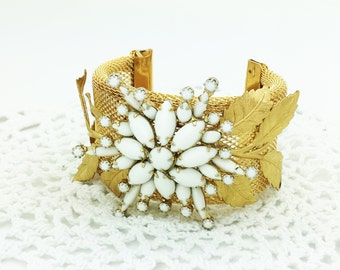 Stunning Large Assemblage Bracelet ~ Milk Glass Brooch ~ One of a Kind ~ Upcycled