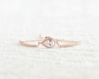 Rose Gold Teardrop Bracelet, Cubic Zirconia Crystal, Bridal Jewelry, Bridesmaid Gift, Wedding Jewelry, Bridesmaid Bracelet, Teardrop Jewelry