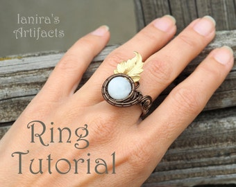 Wire wrap ring tutorial Pattern How to make rings Wire wrapping Wrapped DIY Step by step instructions PDF format Instant Download file