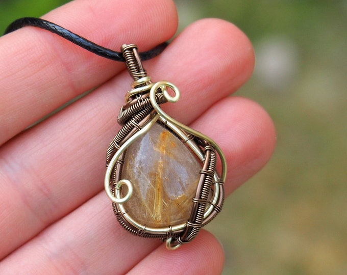 Wire wrapped drop pendant with Golden Rutilated Quartz