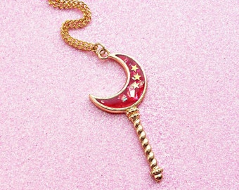 Golden Kawaii Ruby Red Magical Girl Moon Wand Charm Necklace