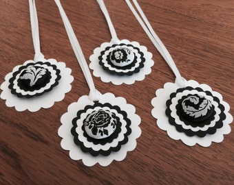 Black and White Gift Tags, Elegant Tags for Weddings, Mother's Day, Floral Favor Labels - Set of 4