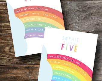 Printable Rainbow Party Invitation