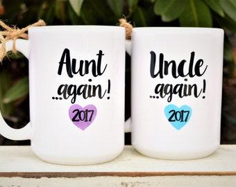 New AUNT or UNCLE AGAIN Mugs, Est. Year, Cute Pregnancy Announcement