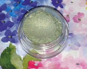 Merman's Mist - bright celery green with a golden sheen mineral eyeshadow 5 gram jar VEGAN