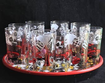 Tumblers, Ice Bucket & Tray Depicting Game Pieces (by Hazel Atlas?) Excellent Condition