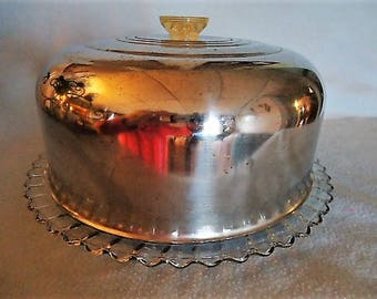 Glass and Stainless Steel Covered Cake Plate Server Keeper 1960's Vintage