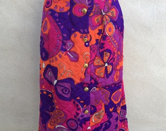 Vintage mod groovy quilted skirt purples pinks orange Loungewear by Gossard sz 10 S/M