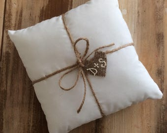 White Cotton Ring Bearer Pillow With Jute Twine and Burlap Heart Tag- Personalize With Initials or Wedding Date- 3 Sizes-Natural-Rustic