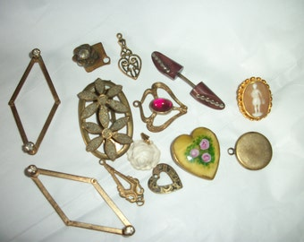 Antique to Vintage ~ Stunning Lil Collection ~ Jewelry Assemblage Lot / Mixed Materials ~ Charms ~ Pendant ~ Jabot ~ Locket
