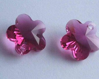 4 SWAROVSKI 6744 Flower 14mm crystal pendant FUCHSIA