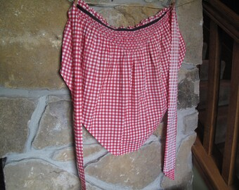 Red Gingham Smocked Cotton Half-Apron, Black Accent, Red and White Checked, Ruffled, Red Kitchen