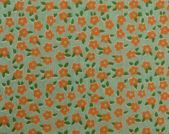 Vintage Floral Fabric, Retro Fabric, Lightweight Fabric, Vintage Cotton Fabric, Mod Flowers, Orange Green - 1 Yard - CFL2199
