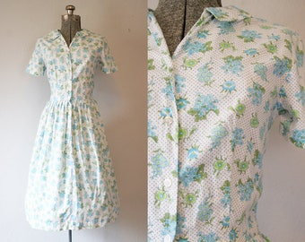 1950's Floral Day Dress / Size Medium