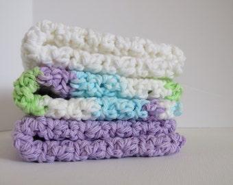 World's Best Handmade Dishcloths 100% USA Cotton Set of 3  - Violet Stripes