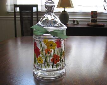 Painted Glass Jar With Lid, Intention or Dream Jar, Florida Floral Vanity Decor, Cotton Jar, Candy, Tea, or Herb Jar