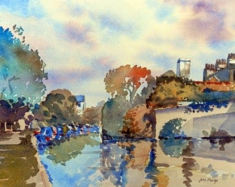 Print of a watercolour painting of the Kennet and Avon canal by John Menage size A3 or A4