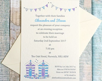 Beach Hut seaside themed wedding invitation - postcard style - perfect for a beach or seaside wedding
