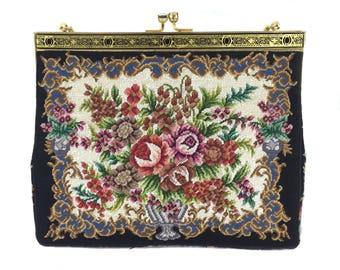 vintage 1950s floral needlepoint purse / petit point / flowers bouquet spring / evening bag / vintage handbag