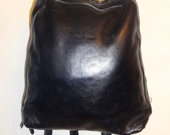 Marco Fabrinni // Small Backpack Knapsack // black // Real Leather  // New Old Deadstock // great quality