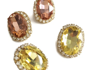 Swarovski Oval stud earrings - 18k gold plated post earrings real swarovski rhinestones