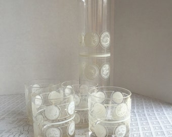Vintage Mid Century Modern Cocktail Glasses and Pitcher / Zodiac Astrology Frosted Glass Martini Glassware Set