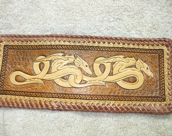 brown celtic dragon wallet / billfold,   (77)  ( ships same day as ordered),