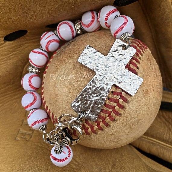 Baseball Charm Bracelet: Baseball Cross Bracelet Baseball Mom Jewelry Baseball