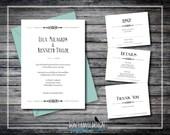 Printable Wedding Invitation Simple Elegant Art Deco - Black and White - Anniversary, Vow Renewal Invitation - Gatsby Wedding