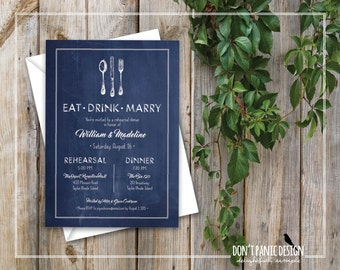 Printable Rehearsal Dinner Invitation - DIY Rustic Chalkboard Invitation - Navy Blue Silverware Wedding Rehearsal Invitation - Custom Color