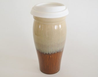 IN STOCK, Stoneware Travel Coffee Mug with Silicone Lid and Sleeve, Large To Go Ceramic Mug, 24 oz Brown Cream Eco Mug