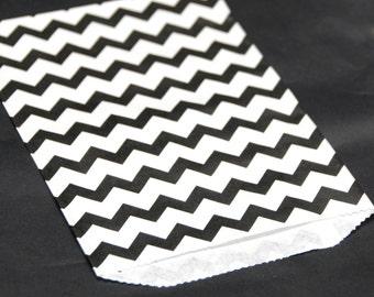 Black Chevron Print Paper Bags