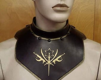 Leather Armor Gorget with graphic