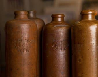 Vintage Gin Bottle, Clay Bottle, kitchen display, flower vase, vintage kitchen, country kitchen, bar display