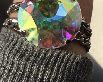 XXL Pink unicorn Swarovski crystal stainless steel chain bracelet