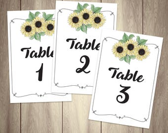Download + Print Table Numbers 1-15 {Sunflowers}