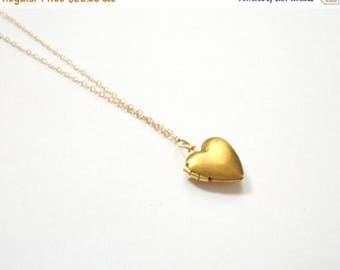 SPRING SALE Heart Locket 14K Gold Filled Chain Vintage Style Brass Heart Locket Tiny Necklace Womans Delicate Whisper Simple Style Gold Fill