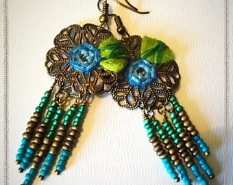 Blue Flower Mandala Bohemian Dangle Earrings - Boho Earrings - Zen Earrings - Hippie Earrings - Gypsy Earrings - Meditation