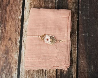 Cheesecloth Wrap with hemp headband, peach,  for Newborn Photography