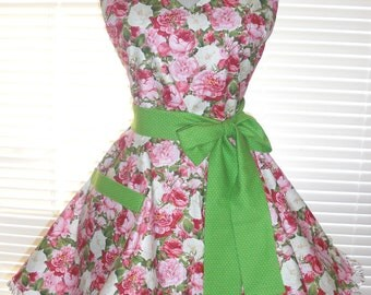 Retro Apron Pink Rose Garden Print with Circular Flirty Skirt Trimmed with Ruffled Ribbon