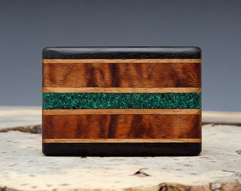 Exotic Wood & Malachite Inlaid Belt Buckle - Handmade