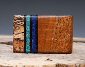 Exotic Wood, Turquoise & Lapis Inlaid Belt Buckle - Handmade