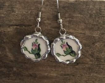 Broken China Earrings Rosebuds