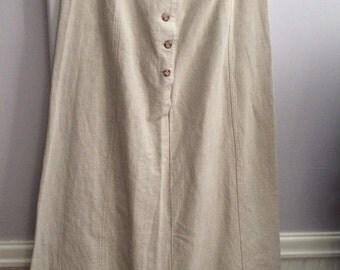 Laura Ashley Natural Flax Linen Skirt /   Gored Flax Linen Skirt / Summer/Spring Skirt / Heavy Weight Linen Skirt / Preppy Style Skirt