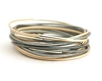 Simple Bohemian Bracelet, Gray Silver Cream Wrap Bracelet, Gray Silver Cream Bracelet, Minimalist Jewelry, gift for him, gift for mam