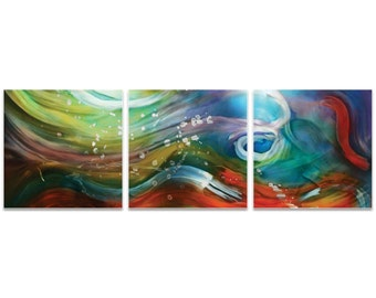 Rainbow Metal Art 'Esne Triptych Large' by Nicholas Yust - Abstract Wall Tiles Colorful Painting Print on Metal or Acrylic