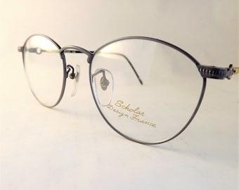 Silver Steampunk Eyeglasses, Womens Oval Eyeglass Frames, Grey Matte Metal Vintage Eyewear, New Old Stock
